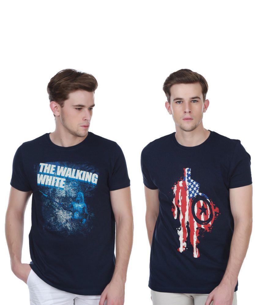 White Kalia Combo Of Navy Cotton T-shirts