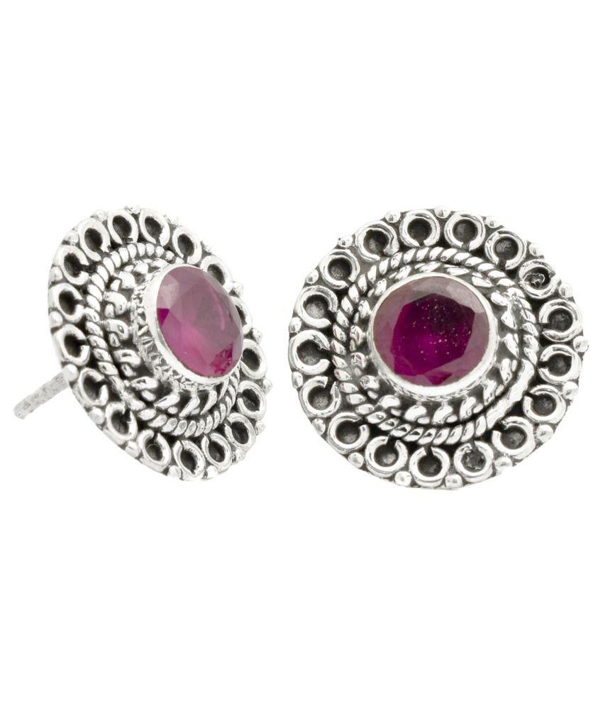 Yugshajewels Silver Single Stone 92.5 Sterling Silver Ruby Studs Earings