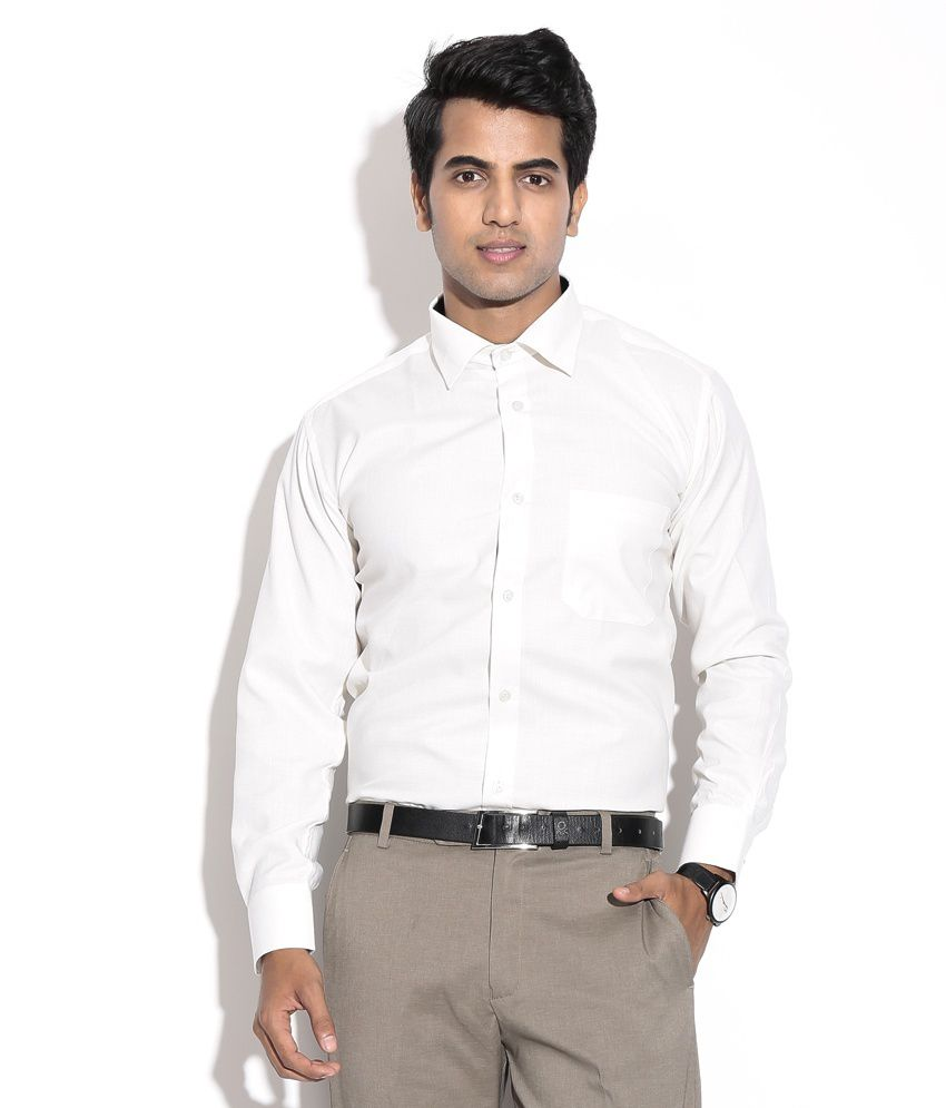 Annushkka enterprises white 100 percent cotton formal 100 cotton tuxedo shirt