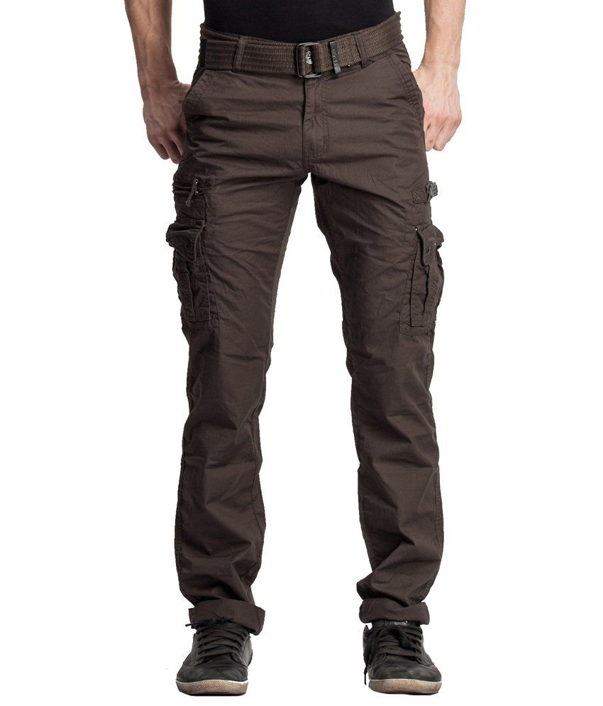 Beevee Olive Cotton Cargos With Belt