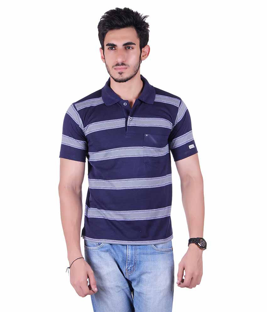 Dearclass Navy Cotton Blend T Shirt