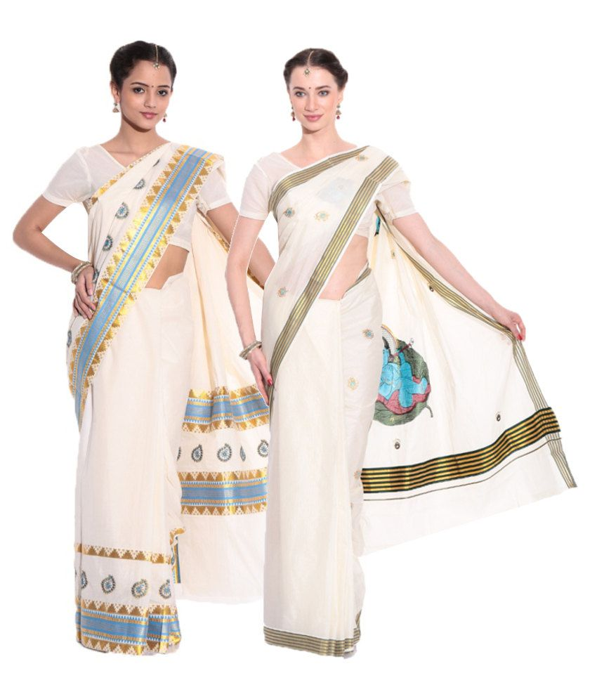 Fashion Kiosks GhostWhite Cotton Saree
