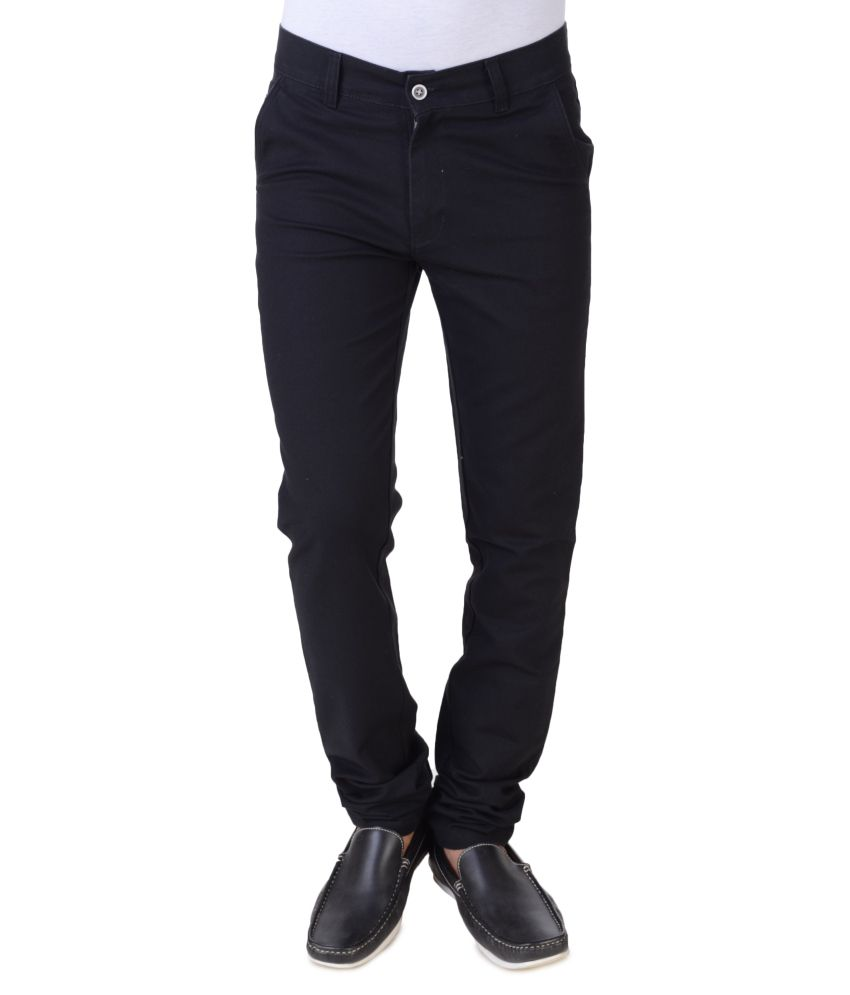 Threads Black Cotton Blend Men's Regular Fit Chinos
