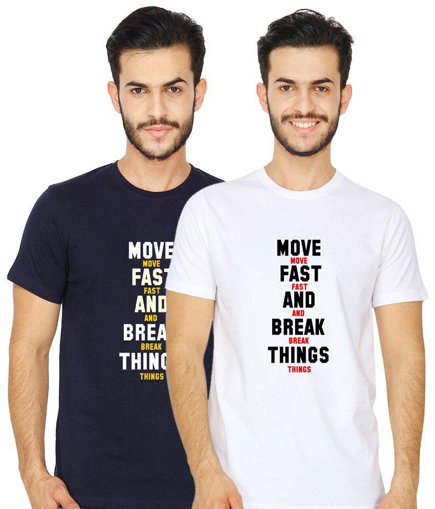 United Squares Stylish Pack of 2 White & Navy Blue T-Shirts