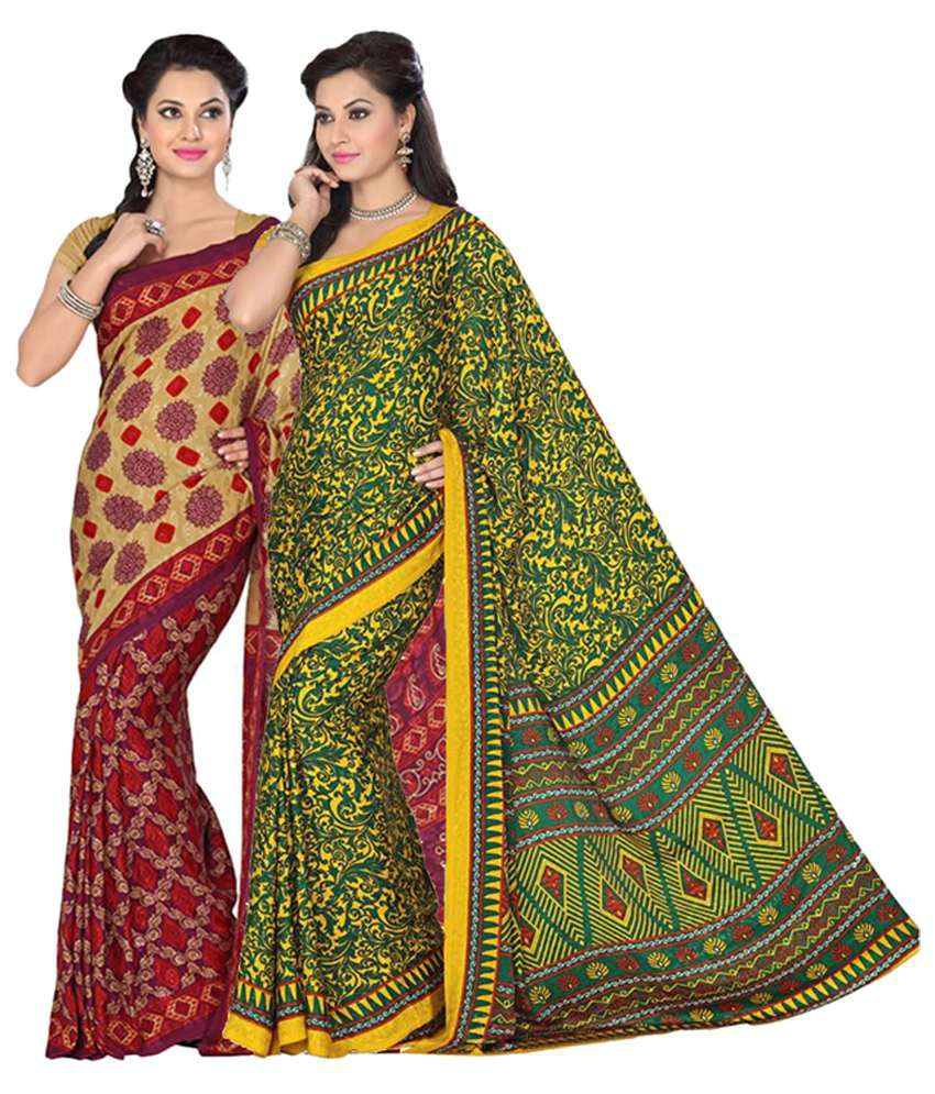Vritika Pink and Green Crepe Jacquard Pack of 2