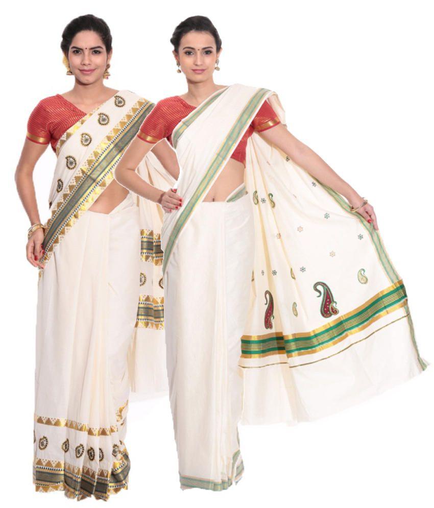 Fashion Kiosks GhostWhite and White Cotton Saree