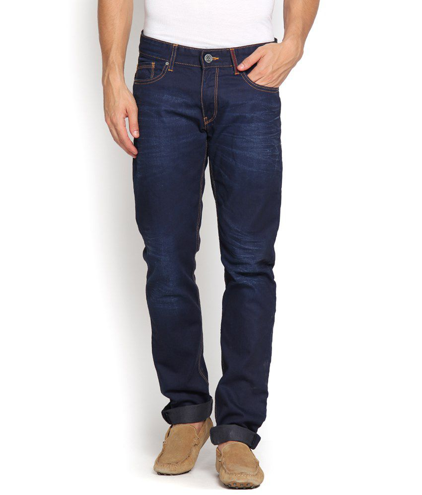 Locomotive Appealing Navy Blue Slim Fit Jeans for Men