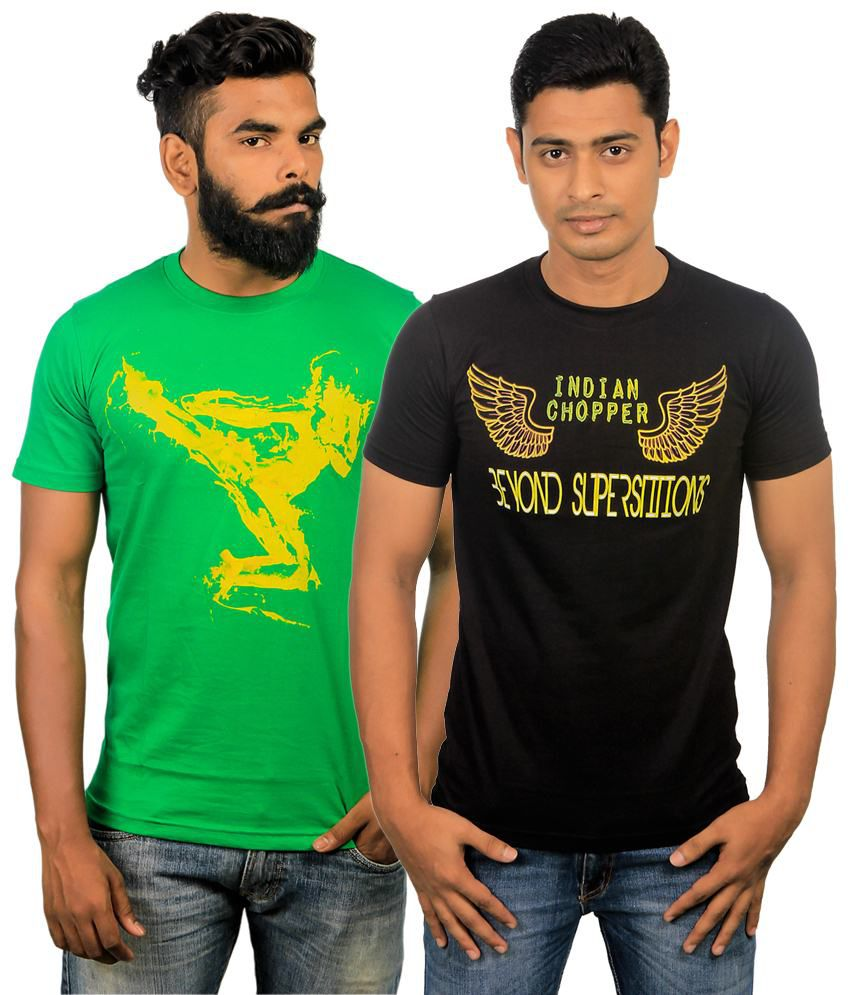Paradigm Trendy Pack of 2 Black & Green T Shirts for Men