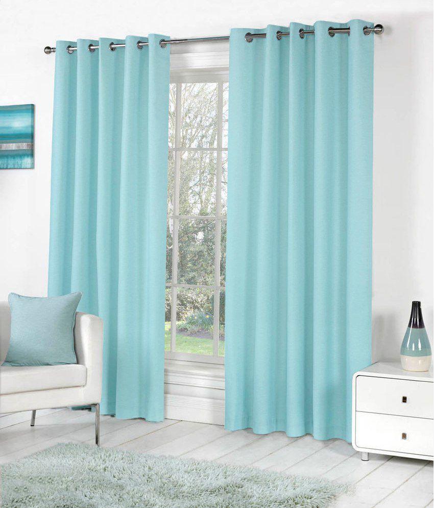 pindia single door eyelet curtain solid blue buy pindia. Black Bedroom Furniture Sets. Home Design Ideas