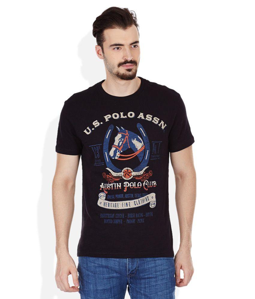 U.S. Polo Assn. Black Round Neck T Shirt