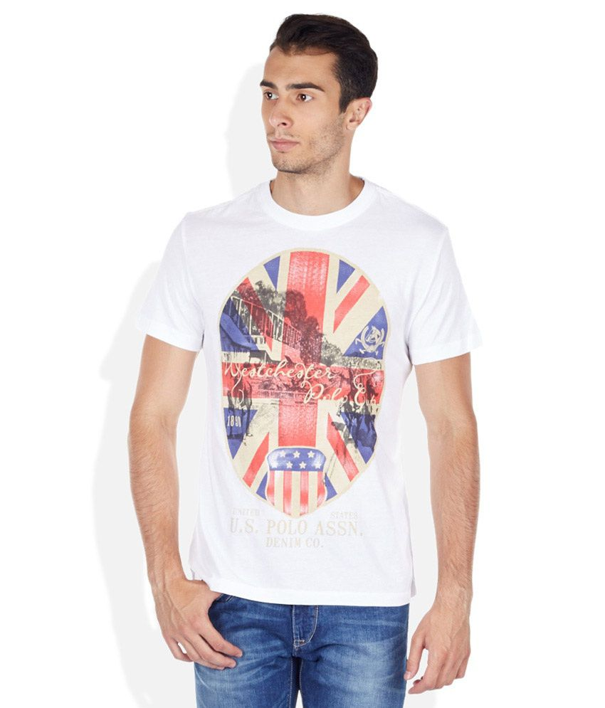 U.S. Polo Assn. White Round Neck T Shirt