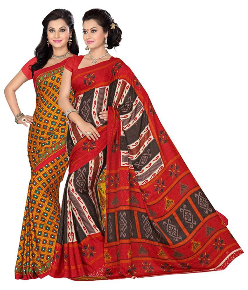 Vritika Red and Yellow Crepe Jacquard Pack of 2