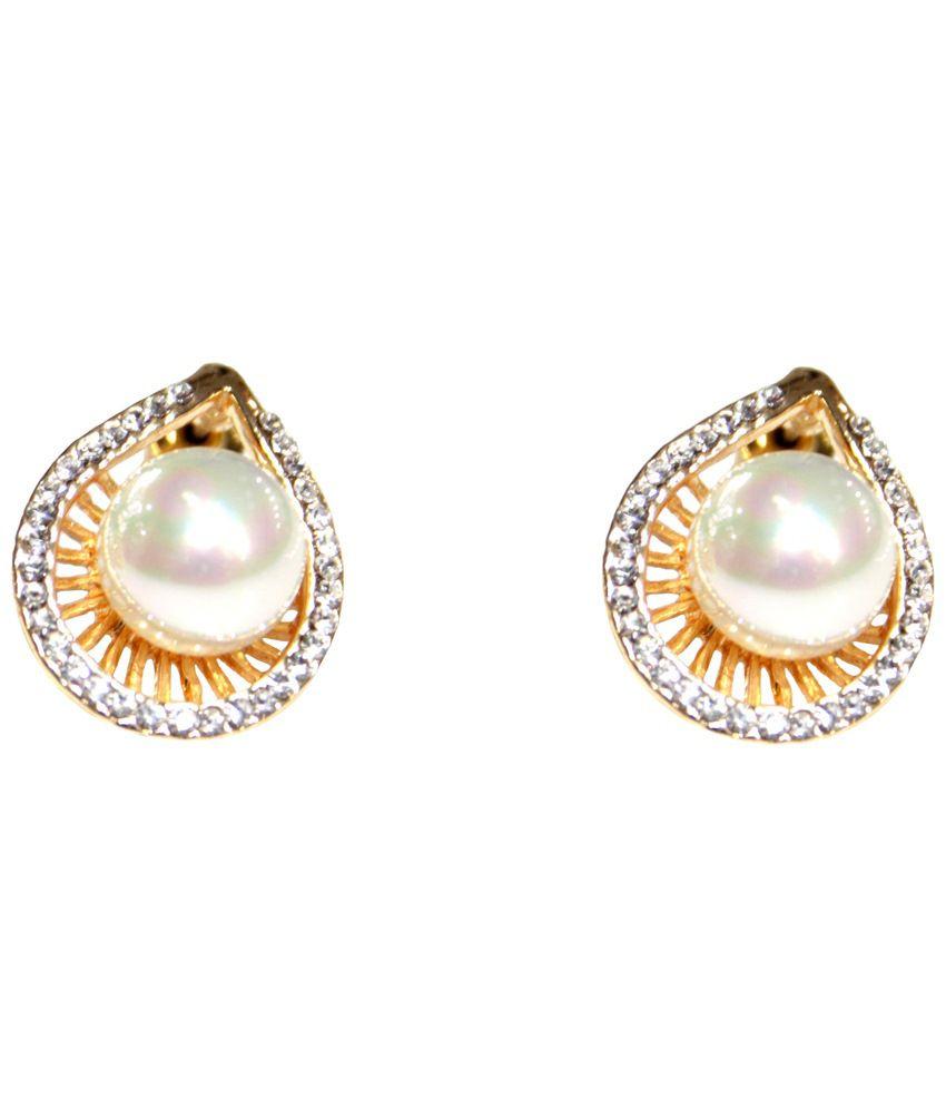 Zeba Fashion Jewellery White & Golden Style Diva American Diamond Stud Earrings
