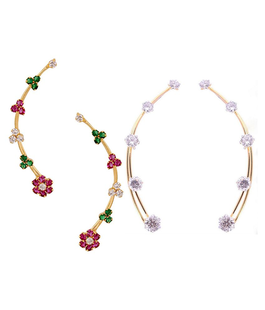 Archi Collection Multi Alloy Ear Cuffs Set Of 2