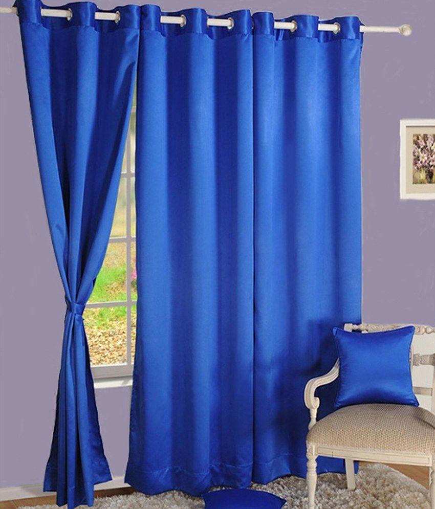 HOMEC Set of 2 Long Door Eyelet Curtains Solid Blue