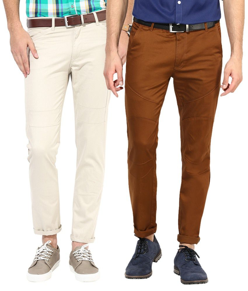 Silver Streak Brown & Beige Cotton Chinos - Pack of 2