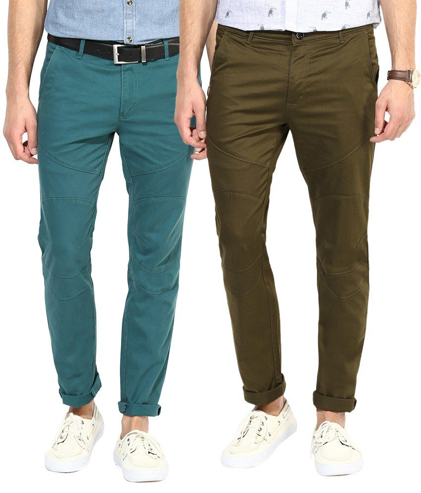 Silver Streak Green & Brown Cotton Chinos - Pack of 2