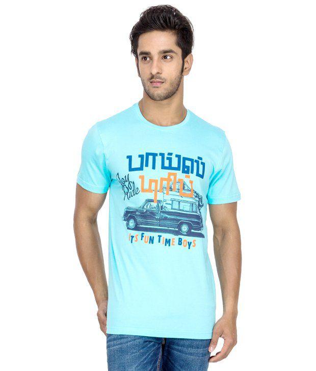 Tee Kadai Blue Printed Cotton T-Shirt