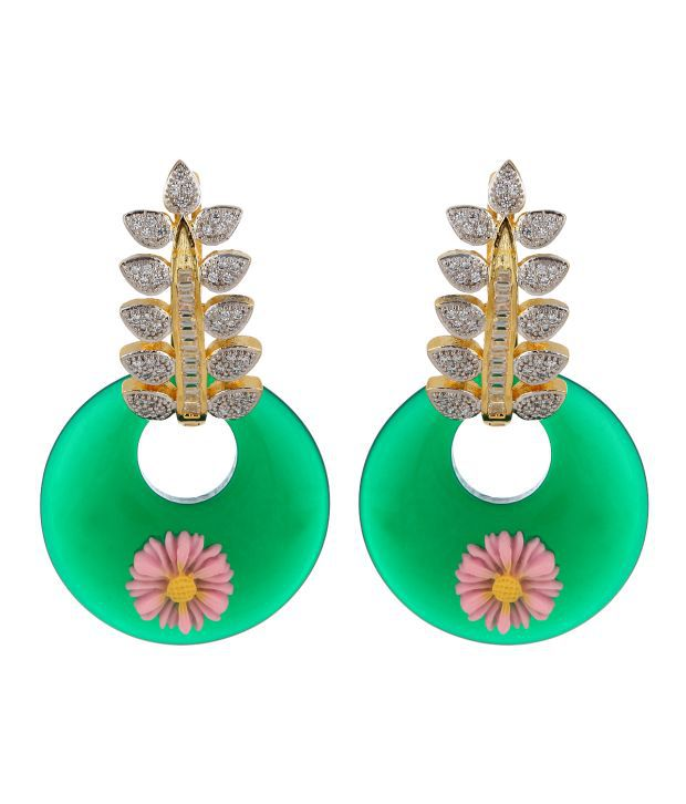 Adwitiya Collection Colour Spark Green Copper Drop Earrings