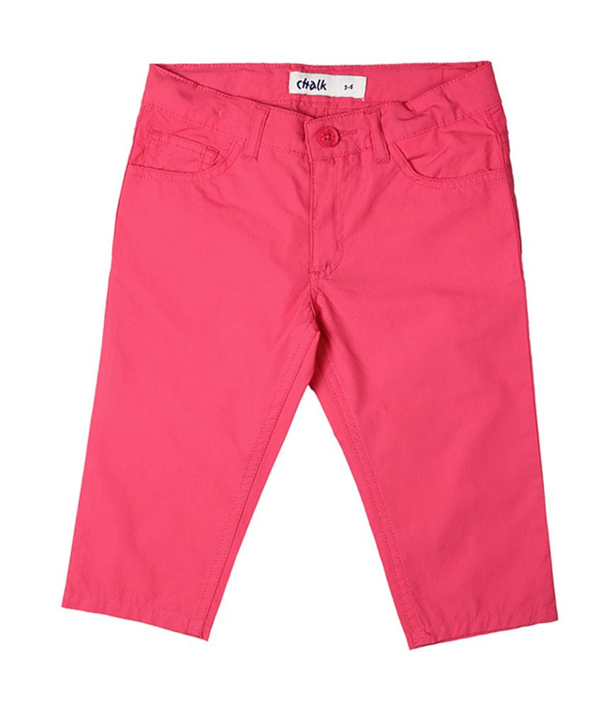 Chalk by Pantaloons Pink Casual Solid Capris