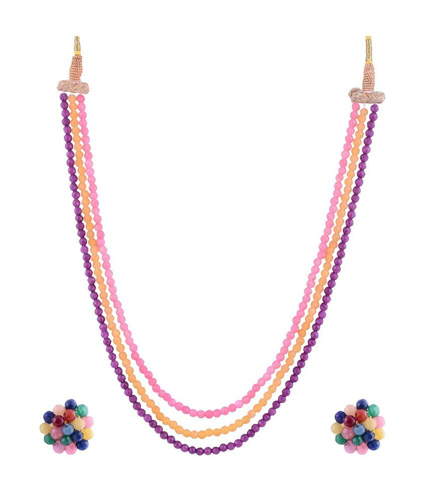 Jai Santoshi Pearls Multicolour Pearls Contemporary Necklace Set
