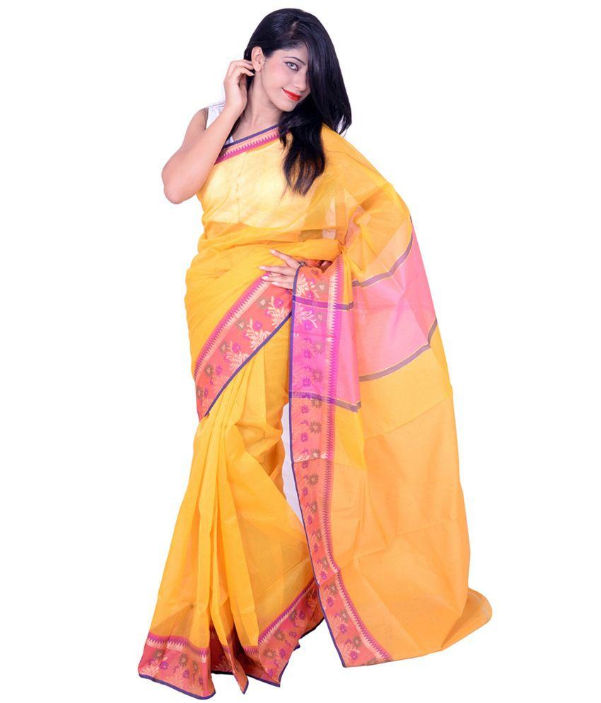 Banarasi Silk Works Yellow Net Saree