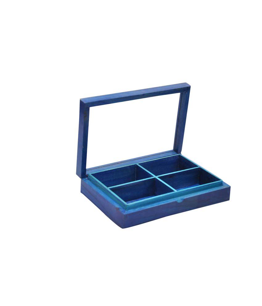Hashcart Colorful Jewellery Box in Wood with Glass Lid