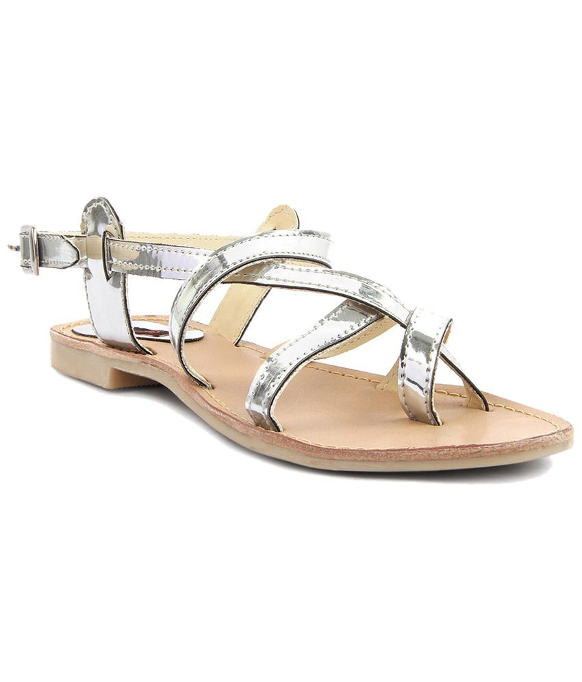 Kz Classics Silver & Beige Flat Sandals for Women
