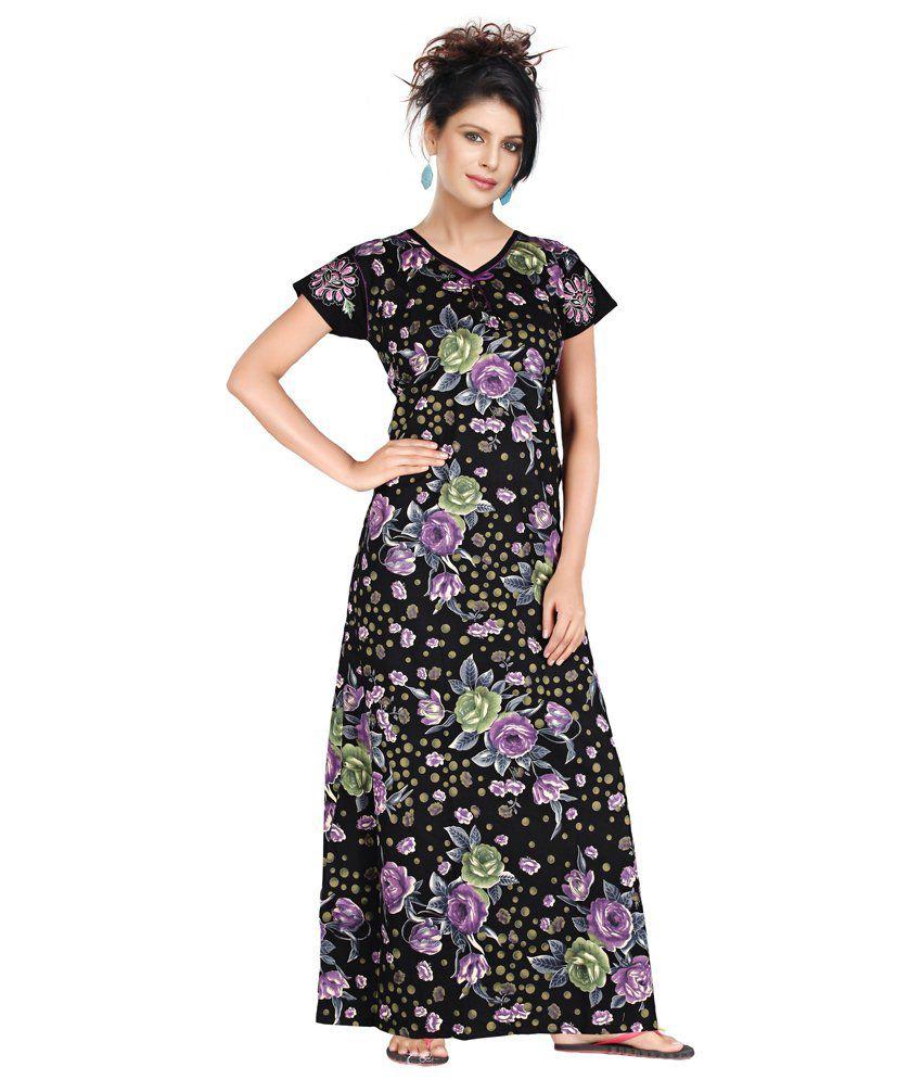 Satyam Purple Poly Cotton Nighty