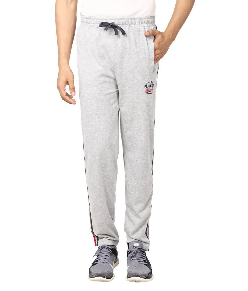 Flicker Hoods Light Grey Premium Cotton Track Pant