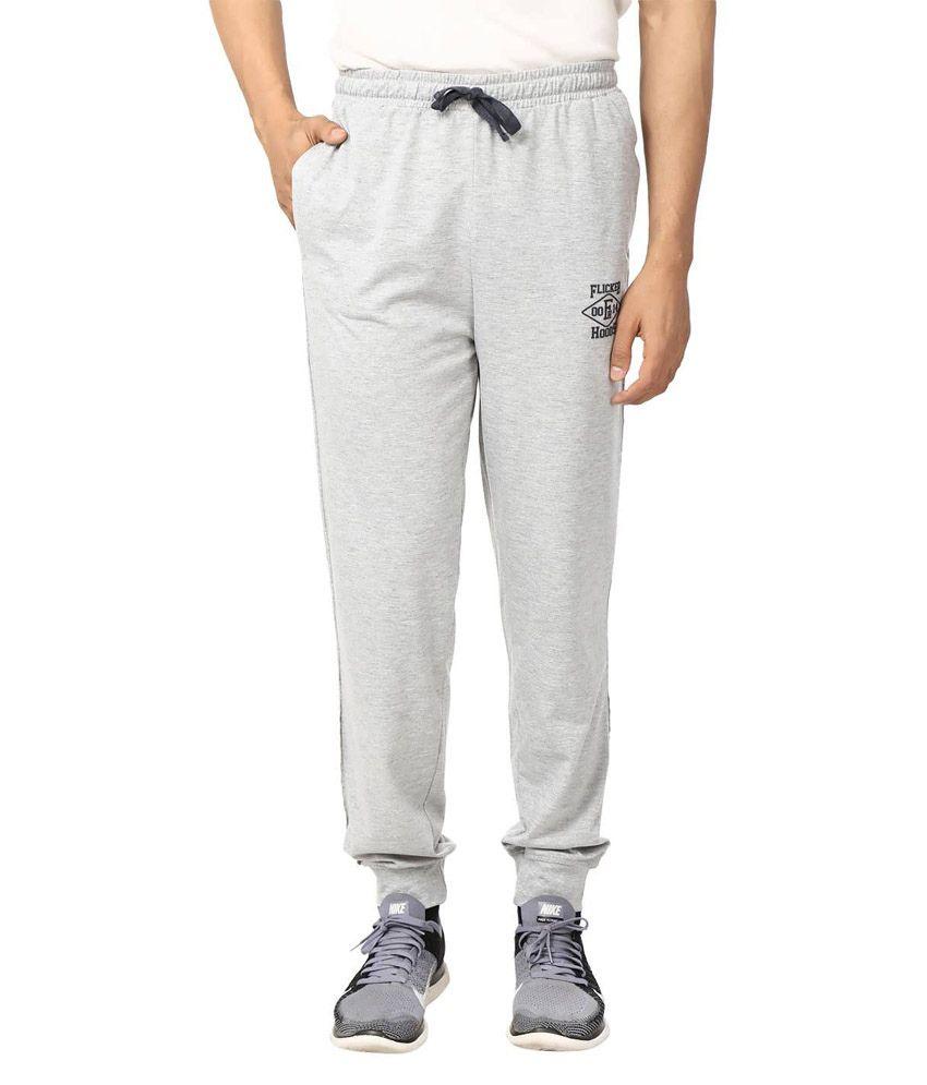 Flicker Hoods Light Grey Premium Cotton Track Pant