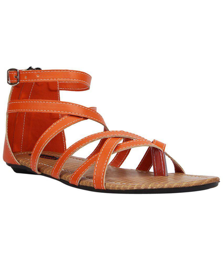 Kz Classics Fine Orange & Beige Flat Sandals for Women