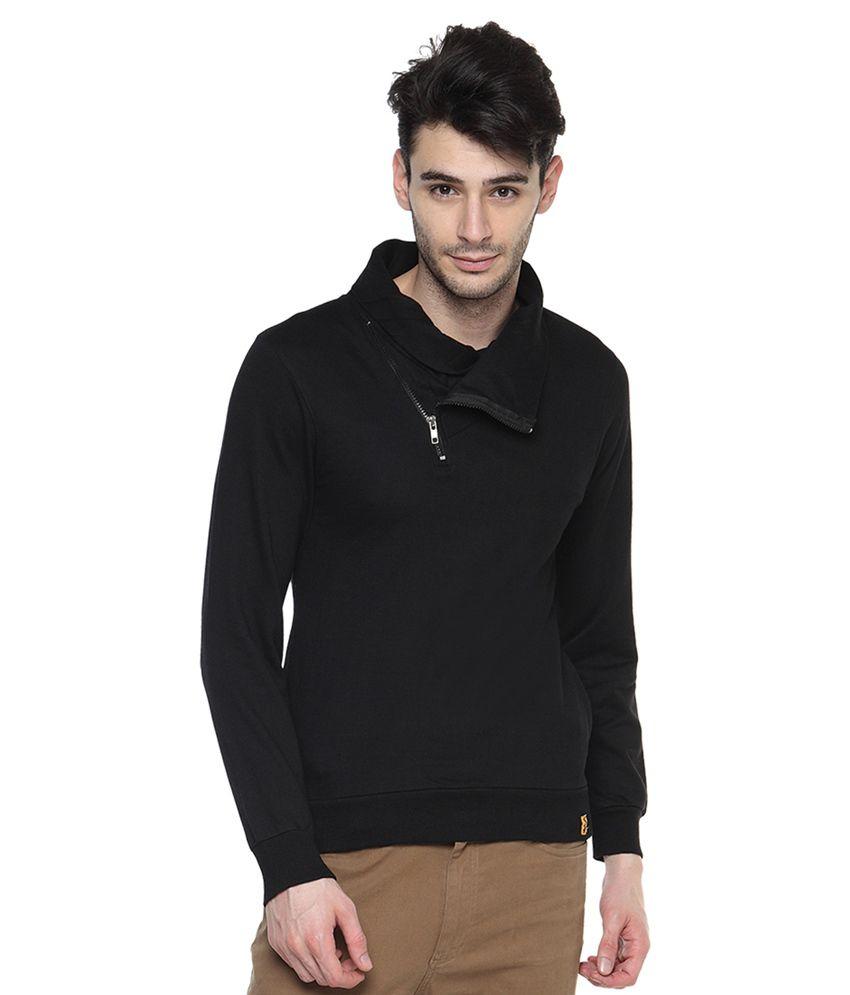 Campus Sutra Black Cotton Round Neck Sweatshirt