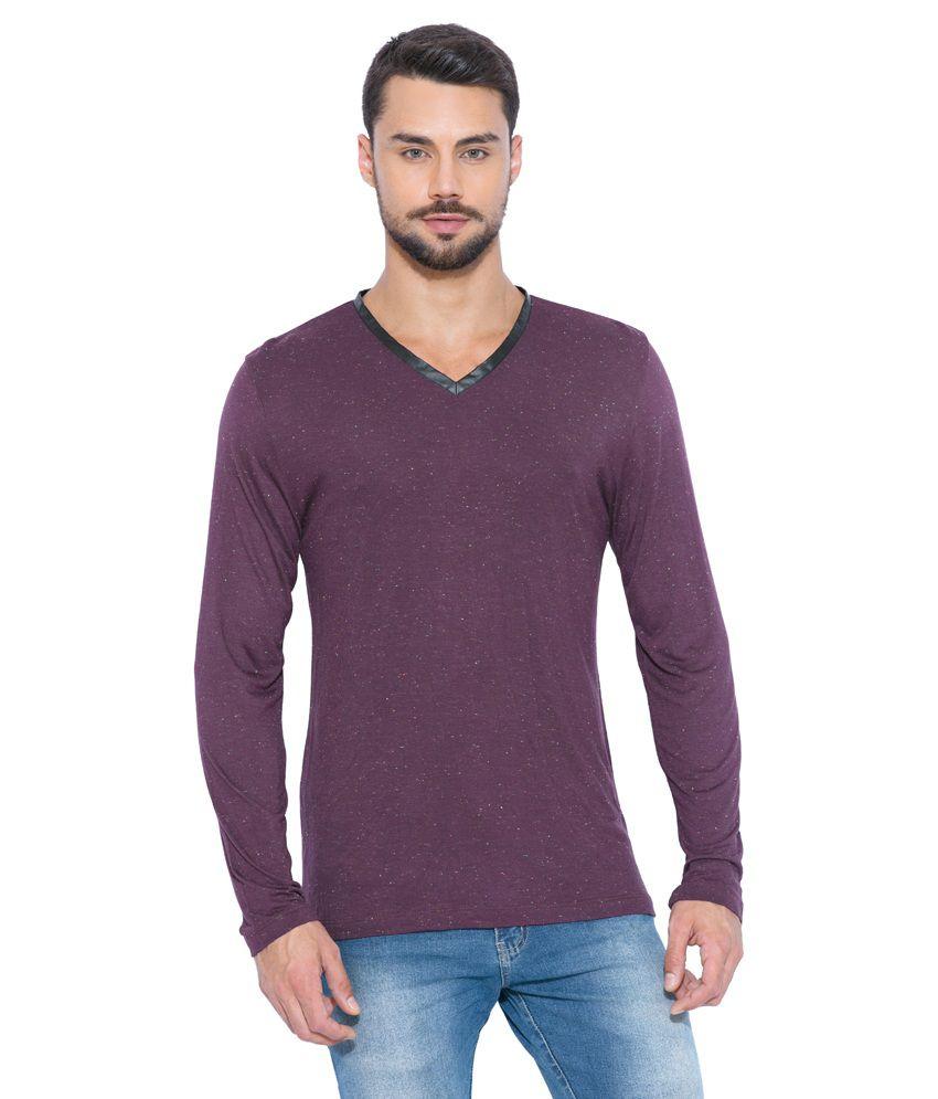 Globus Purple Polyester V-Neck T-Shirt