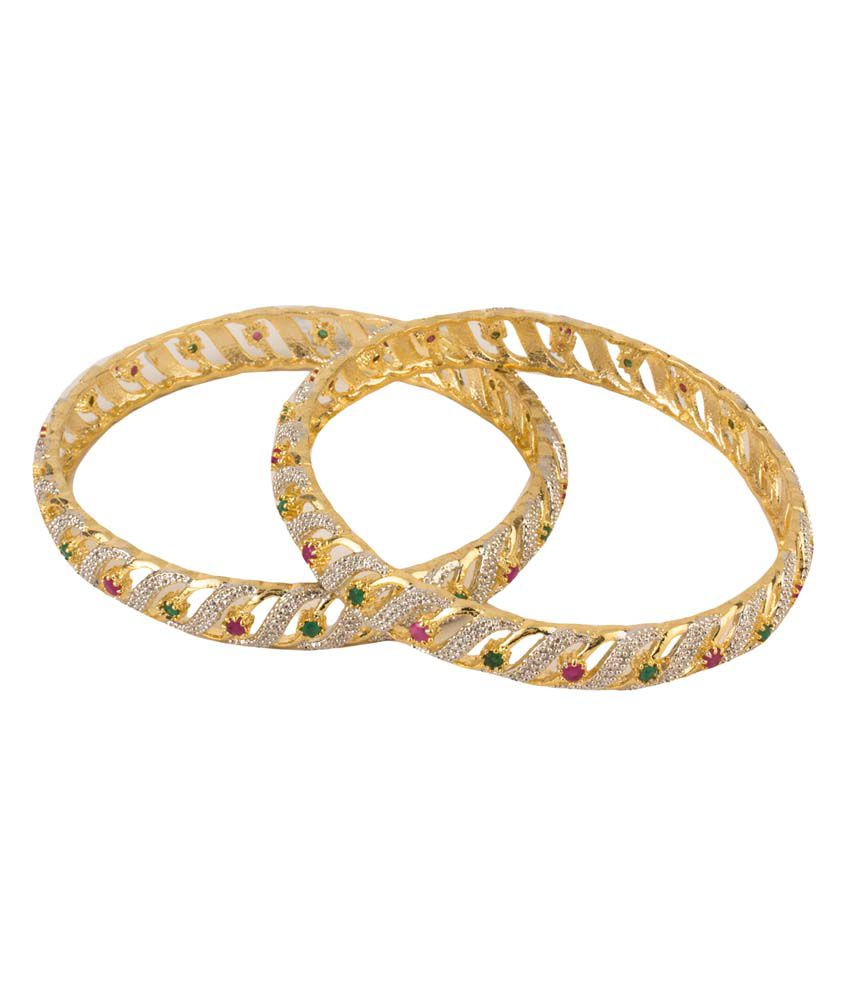 Kaira The Fashion Jewelry Golden Just Like Diamonds Combos American DiamondAlloy Designer Toggle Bangles