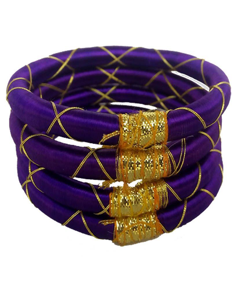 Royalminchem Purple Resham Thread Designer Bangles Set of 4