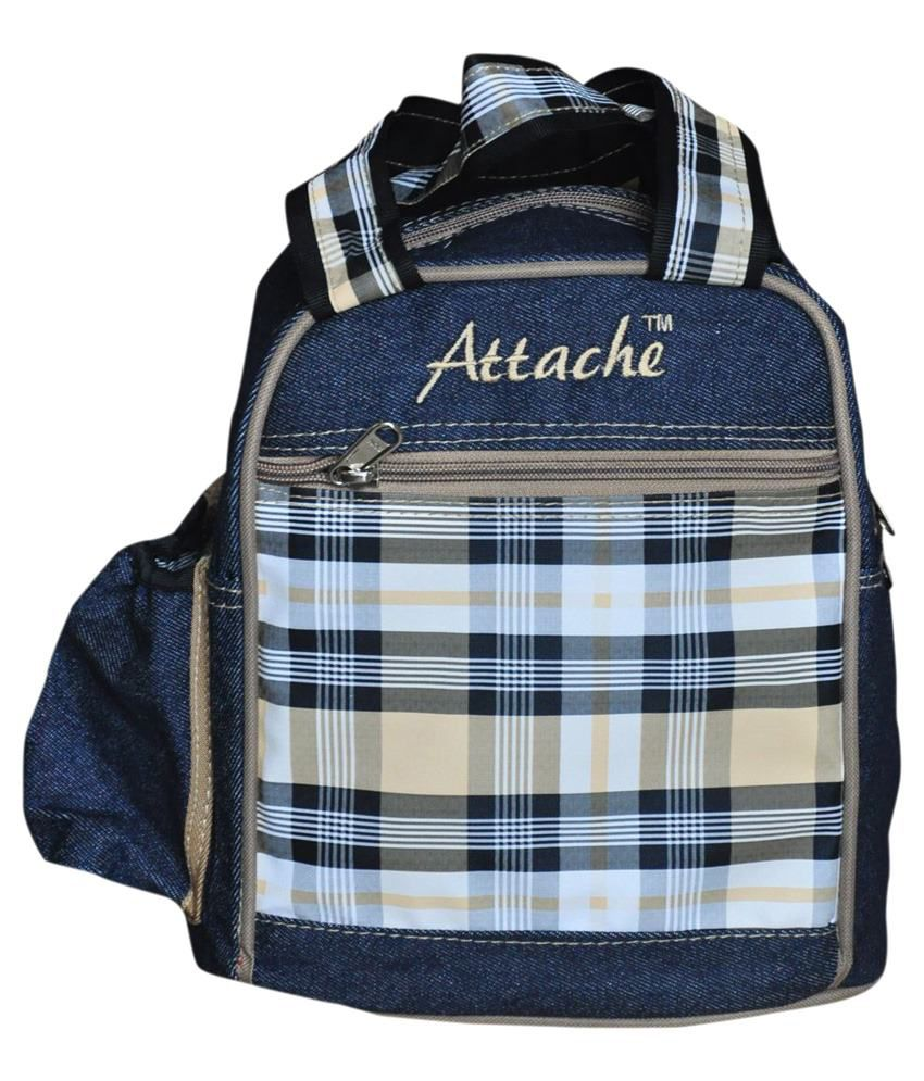 Attache blue Brown Lunch Bag