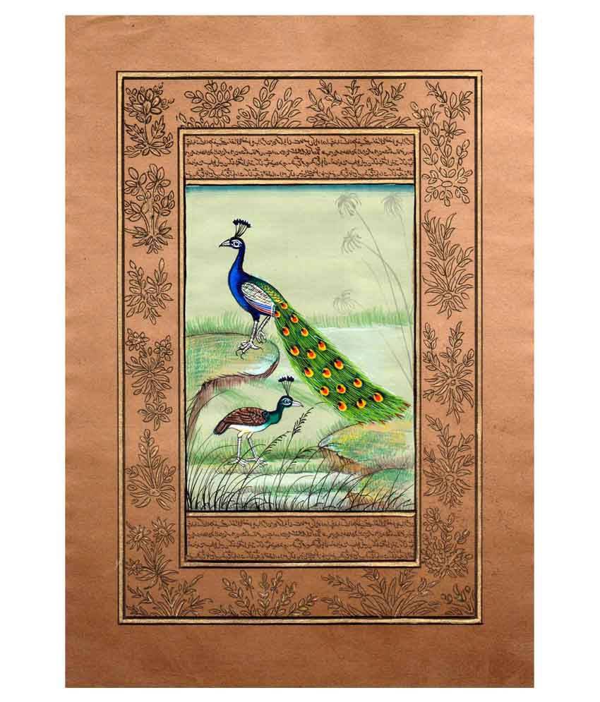 Divinecrafts Brown Paper Peacock Painting Without Frame