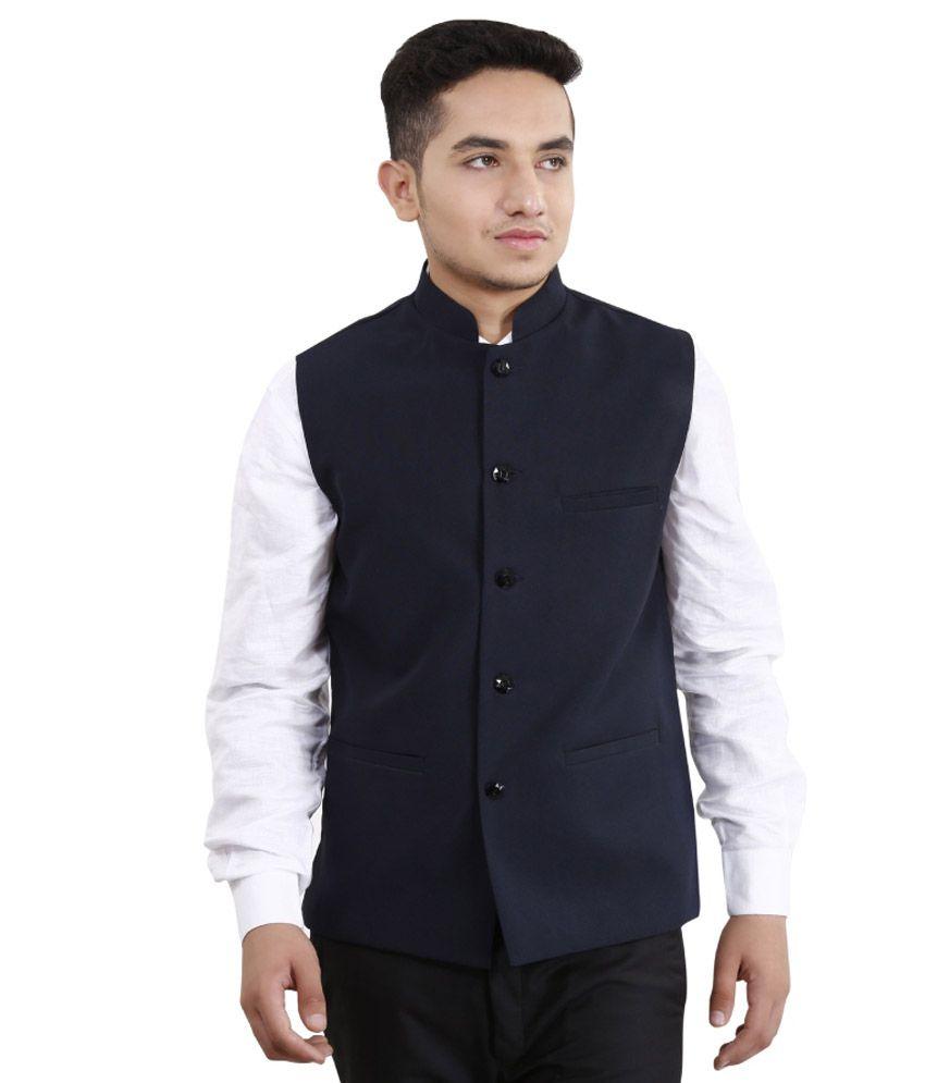 Fashion N Style Navy Semi Formal Waistcoat