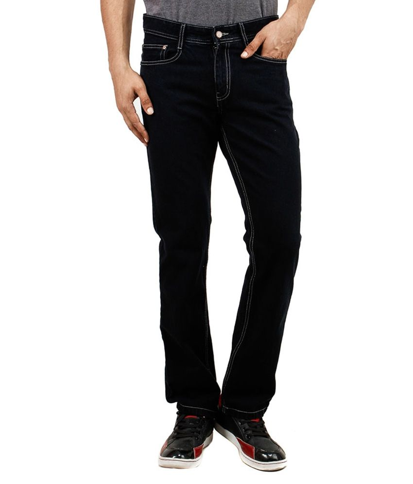 Uber Urban Black Cotton Cool Regular Jeans