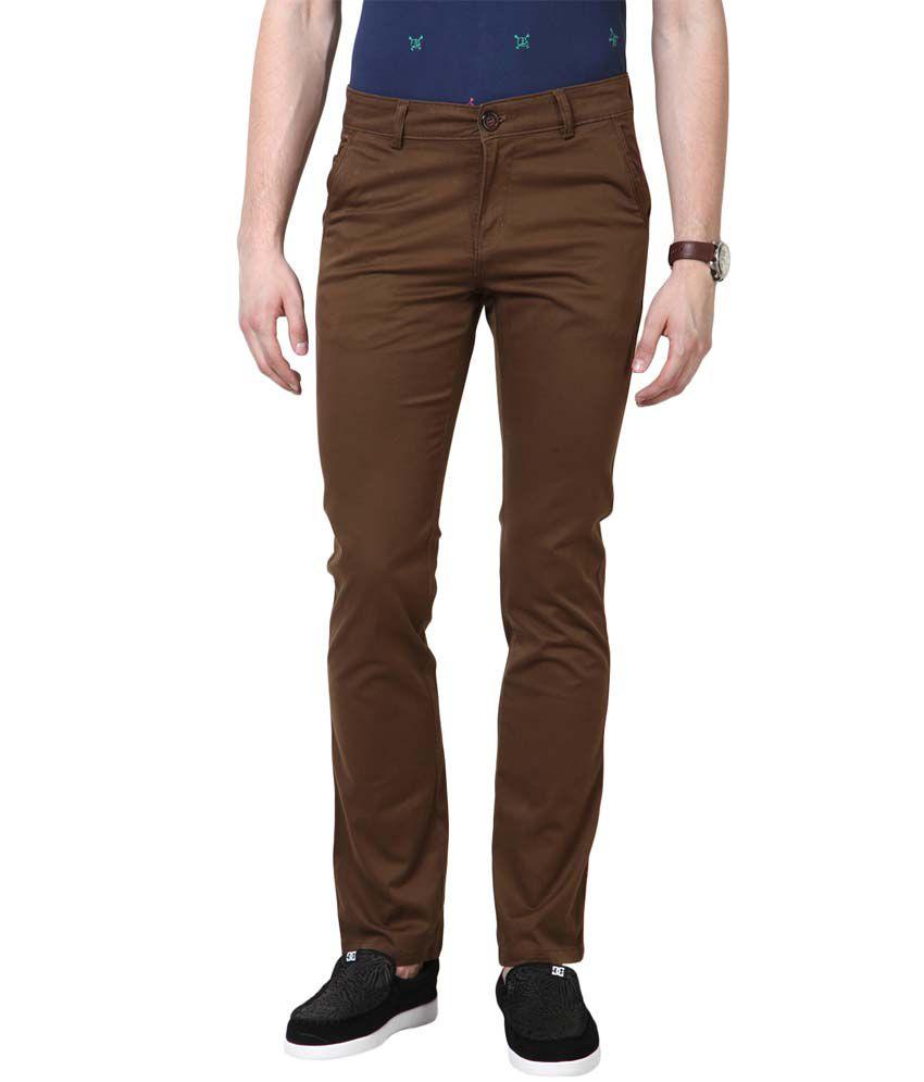 3concept Brown Cotton Slim Fit Trouser