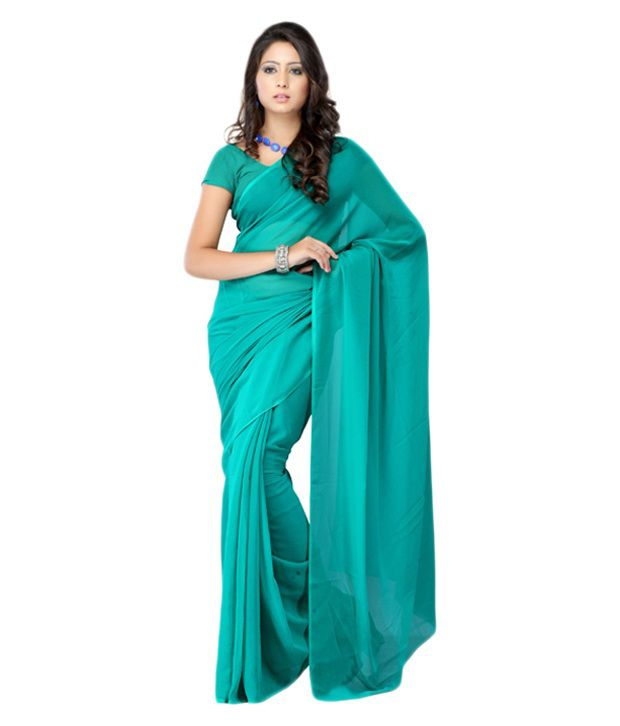 Fabdeal Turquoise Pure Georgette Saree