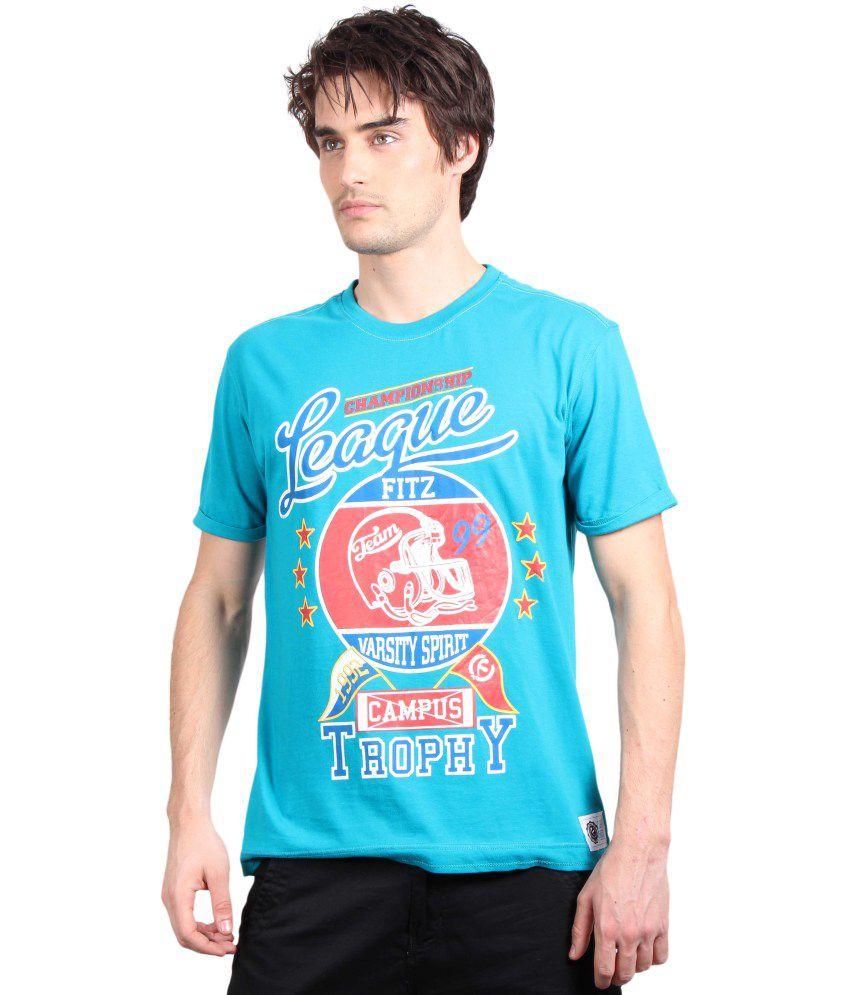 Fitz Blue Cotton T-Shirt