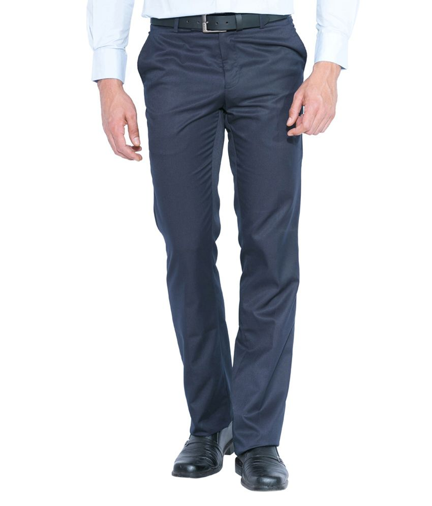 Globus Navy Poly Viscose Regular Fit Formal Trouser