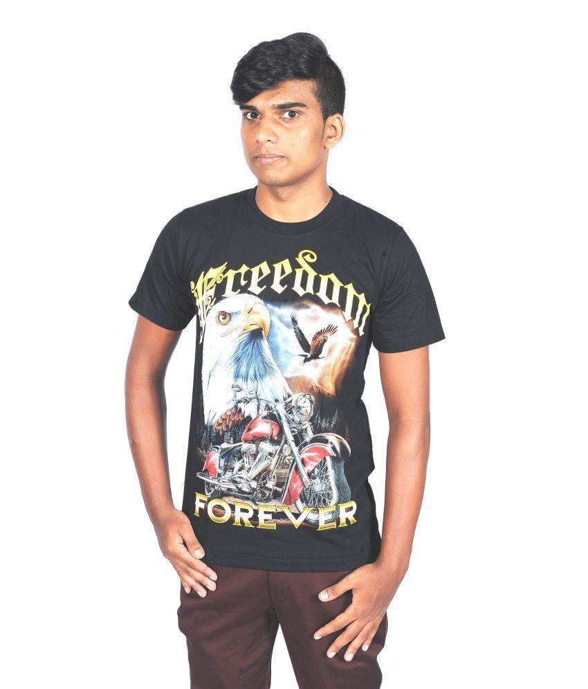 RS Black Cotton Round Neck T Shirt