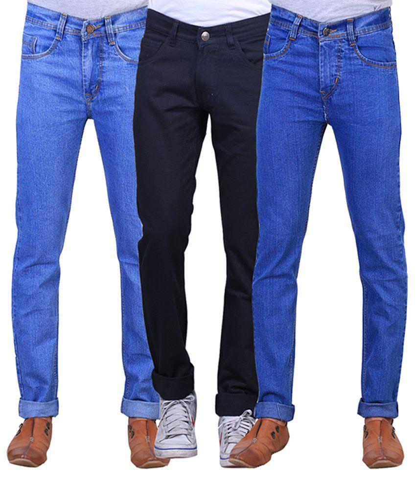 X-cross Black and Blue Denim Regular Fit Jeans for Men (Pack of 3)