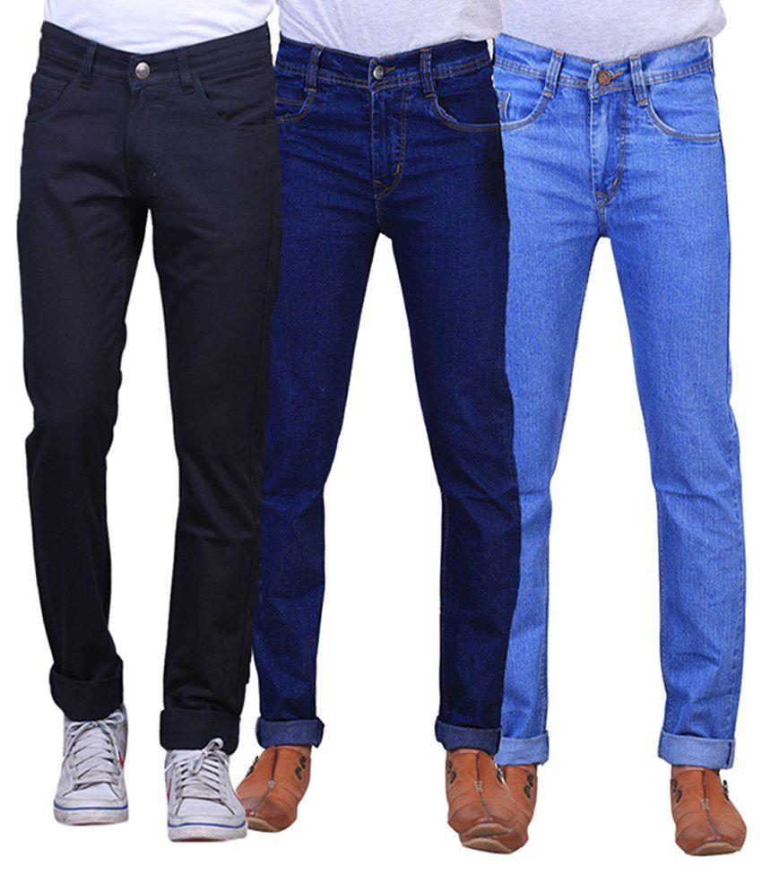 X-cross Blue, Navy Blue & Black Denim Regular Fit Jeans for Men (Pack of 3)