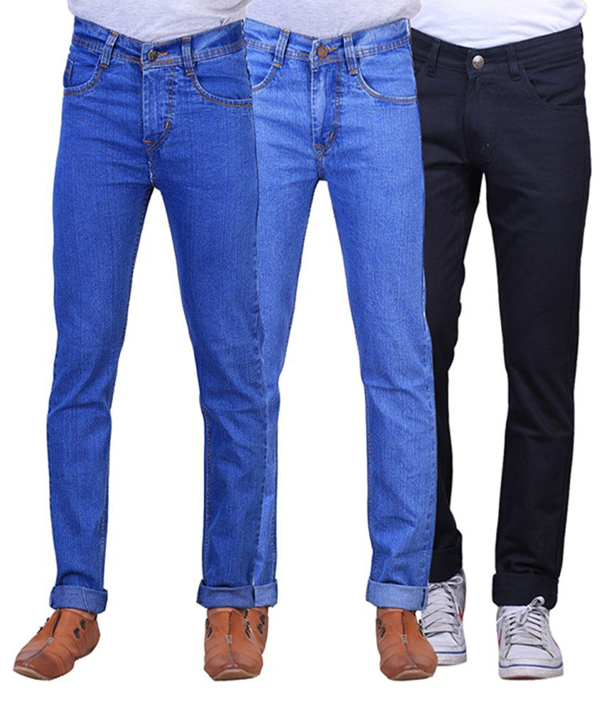 X-cross Blue and Black Regular Fit Denim Jeans for Men (Pack of 3)