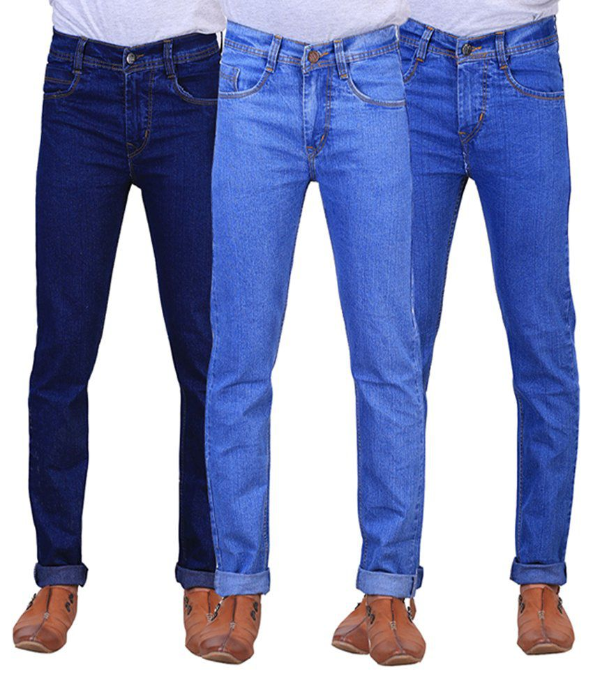 X-cross Navy Blue & Blue Denim Regular Fit Jeans for Men (Pack of 3)