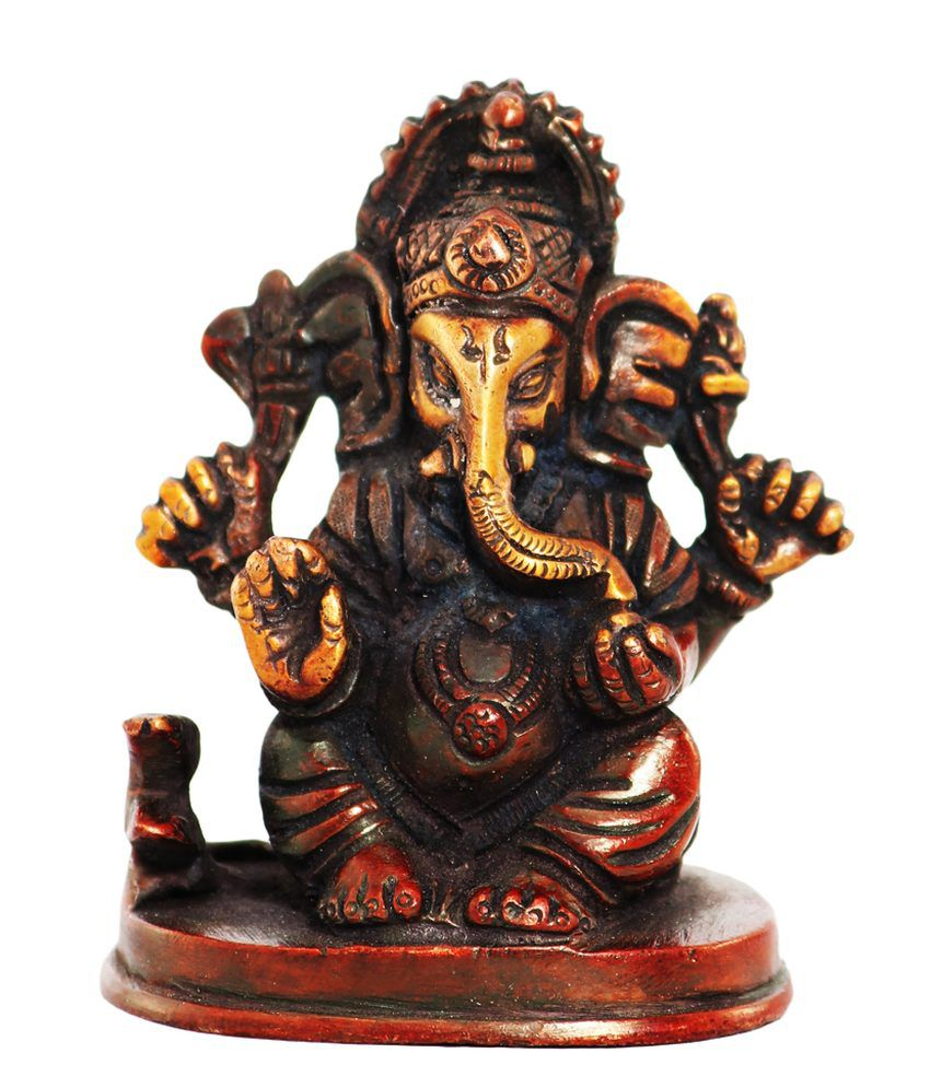 Ark Creation Brown Brass Ganesha Idol